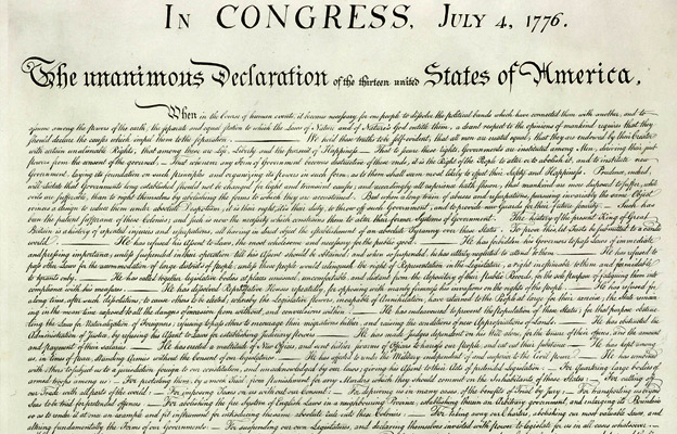 Declaration of Independence. The 4th of July, 1776